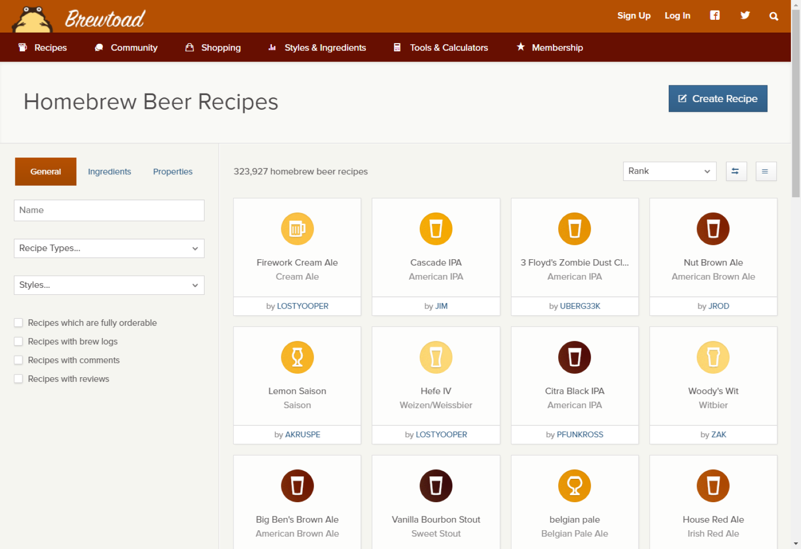 brewtoad.com recipe index